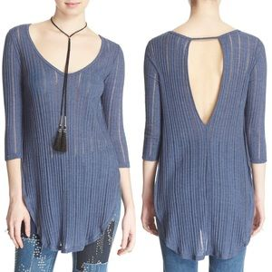 FREE PEOPLE Astoria Split Ribbed Knit Hacci Top